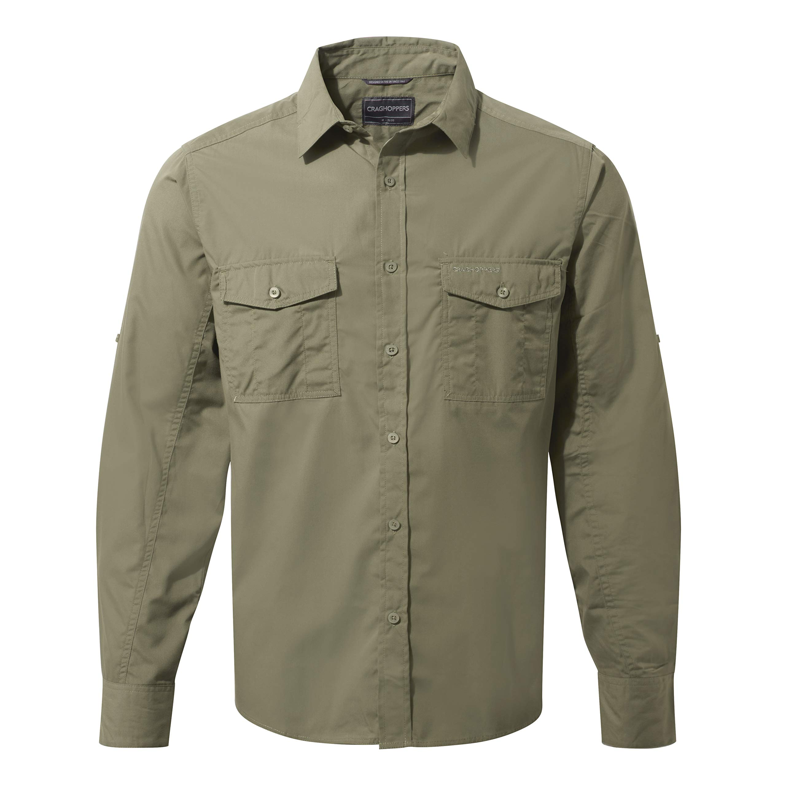 Craghoppers Men's Kiwi Classic Long Sleeve Button Down Shirt Insect Repellent UPF 40+ Mid Layer Top