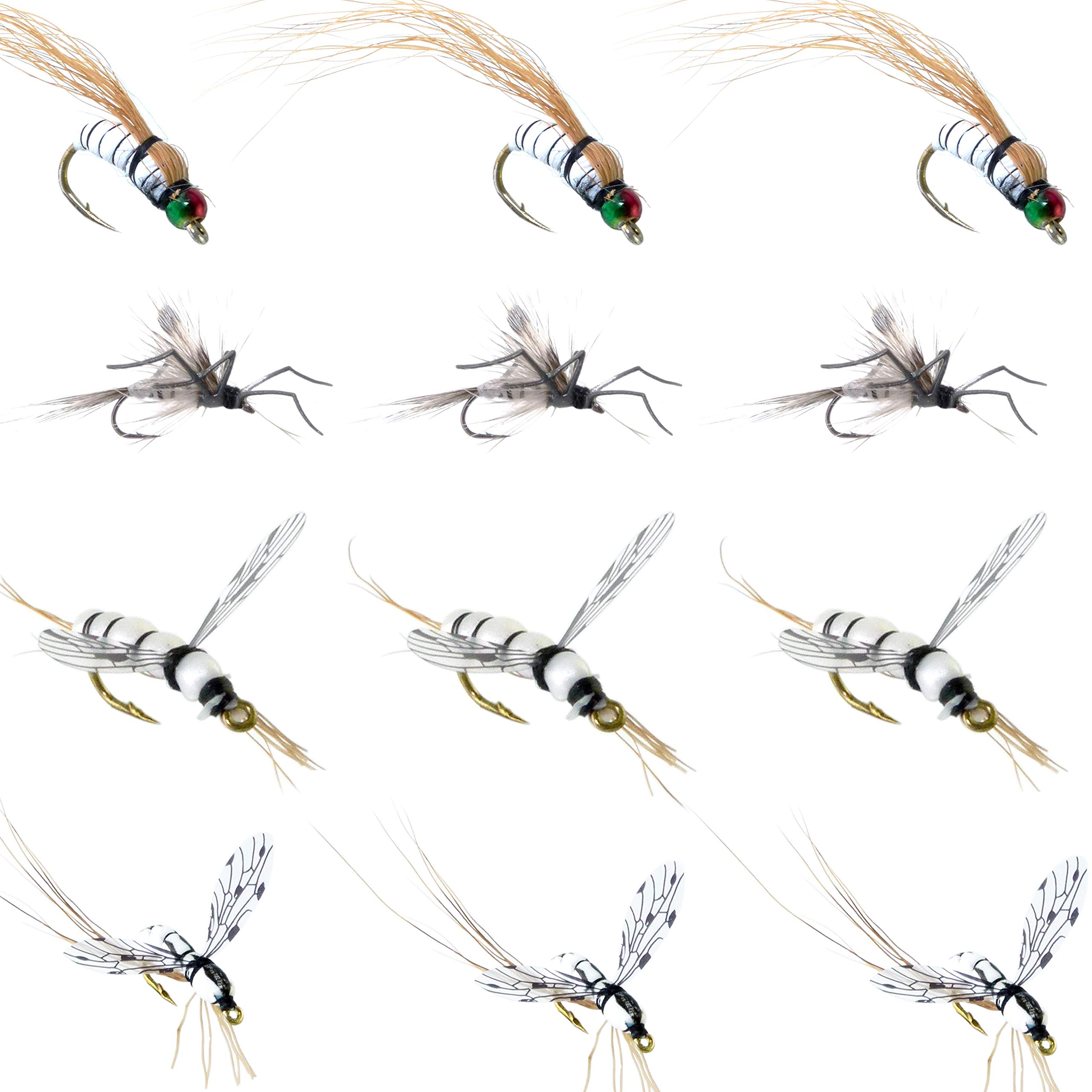 YAZHIDA Fly Fishing Flies Kit Fly Assortment Trout Bass Fishing with Fly Box with Dry/Wet Flies, Nymphs, Streamers