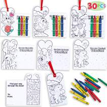 JOYIN 30 pack Valentines Day Card Set of Gift Cards and Gift Crayons for Valentine's Classroom Exchange Valentine Prizes Party Favors