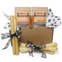 Raw Paws Christmas Dog Gift Set - Ready-to-Give Holiday Dog Lovers Gifts for Your Boss, Clients, Colleagues, Friends Pet Sitter - Dog Xmas Gifts Dogs - Dog Treat Variety Pack Box