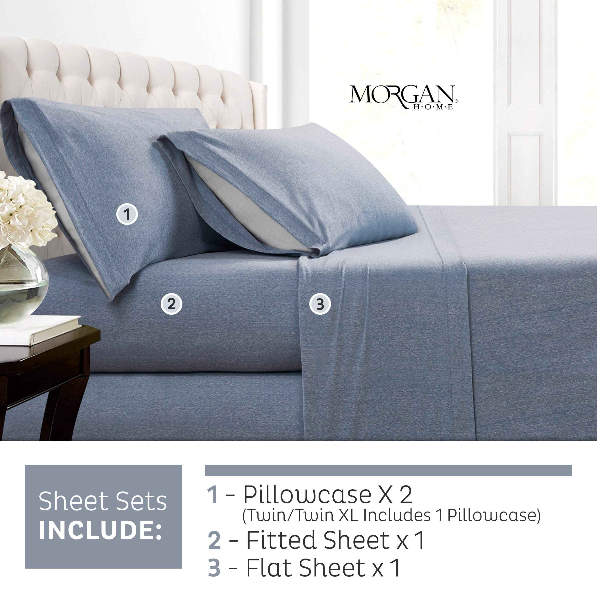 Morgan Home Fashions Cotton Rich T-Shirt Soft Heather Jersey Knit Pillowcases- All Season Bed Sheets,Super Comfortable, Warm and Cozy by Morgan Home (2 Pack Pillowcase, Heather Blue)