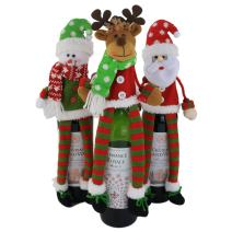 WEWILL 3Pcs Christmas Wine Bottle Cover 3D Sweater Design Set of 3 Santa Reindeer Snowman Xmas Home Party Decoration for Family, 14 inch