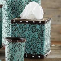 BLACK FOREST DECOR Tooled Turquoise Flowers Tissue Box