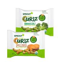 Sprout Organic Curlz Toddler Snacks, Variety Pack, 0.25 Ounce (24 Count)  Single Serve Packets 12 of Each: Broccoli and Sweet Potato & Cinnamon