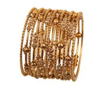 """Touchstone """"Golden Bangle Collection Filigree Wire Yellow Faux Citrine Grain Work Golden Balls Indian Bollywood Designer Jewelry Metal Bangle Bracelets in Antique Gold Tone for Women Set of 13"""