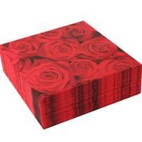 Lunch paper napkins rose flower napkins, full page red color elegant rose flower paper napkins,3 ply,13 inch x 13 inch, 2 pack of 30 count rose flower lunch napkin(60 pcs) by Nursetree