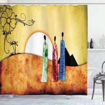 "Ambesonne African Shower Curtain, People Facing Large Sun Savannah Desert Boho Wildlife Illustration, Cloth Fabric Bathroom Decor Set with Hooks, 70"" Long, Yellow Black"