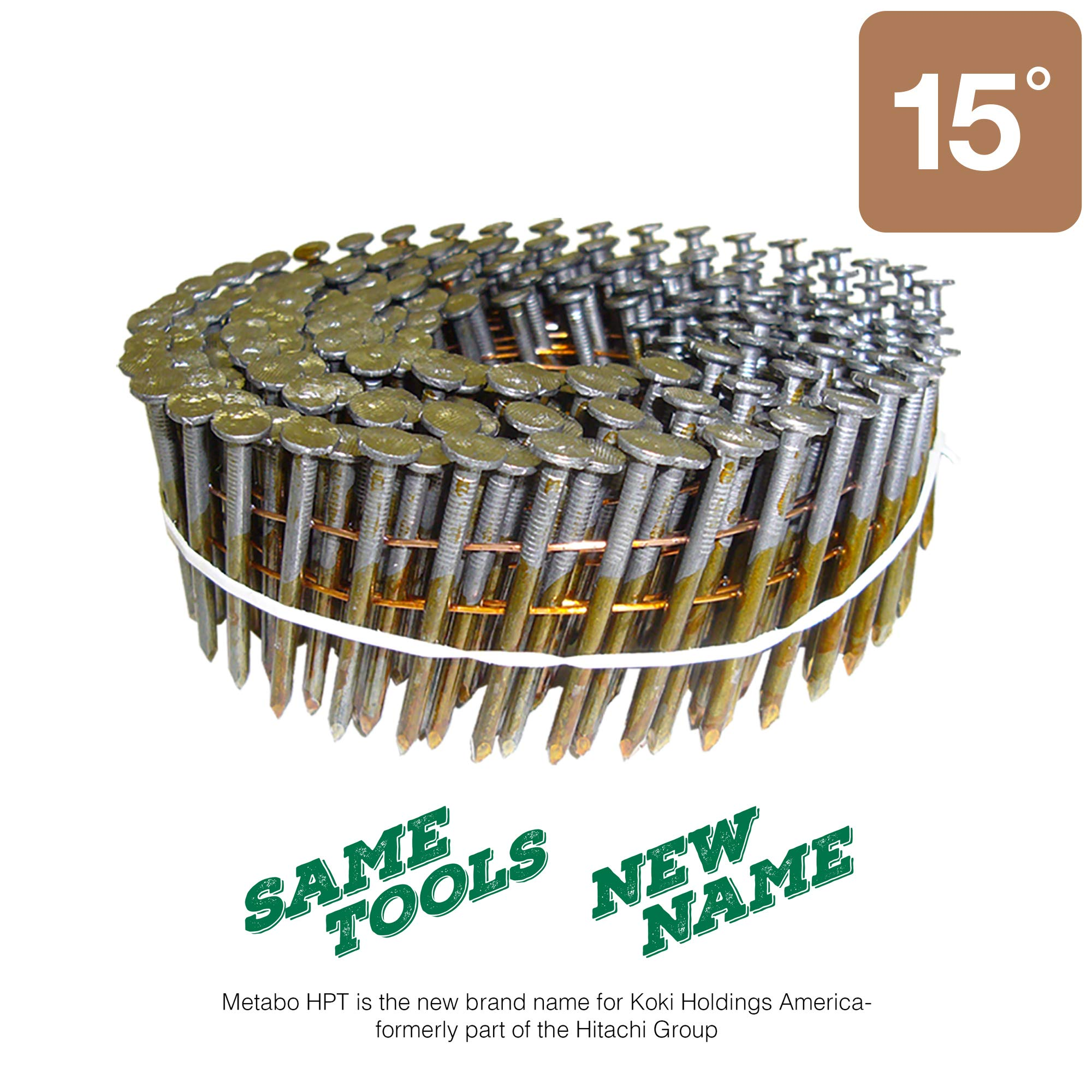 "Metabo HPT 12410HPT 1-1/2"" x .113 Smooth Shank Heat Treated Bright Wire Coil Nails 