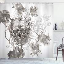 """Ambesonne Day of The Dead Shower Curtain, Painting Skull Flowers Dia de Los Muertos Designed Print, Cloth Fabric Bathroom Decor Set with Hooks, 84"""" Long Extra, Dimgrey White"""