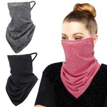 MoKo Scarf Mask Bandana with Ear Loops 3 Pack, Neck Gaiter Balaclava with Filter Pocket UV Sun Protection Face Mask for Dust Wind Motorcycle Cycle Bandana Headband for Women Men