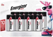 Energizer D Batteries, Max Alkaline, 8 Count