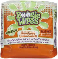 Boogie Wipes, Wet Wipes for Baby and Kids, Nose, Face, Hand and Body, Soft and Sensitive Tissue Made with Natural Saline, Aloe, Chamomile and Vitamin E, Fresh Scent, 45 Count (Pack of 2)