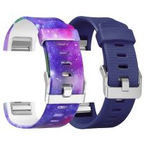 SKYLET Compatible with Fitbit Charge 2 Bands, Silicone Replacement Printed Wristbands Compatible with Fitbit Charge 2 Universe Bracelet(No Tracker)