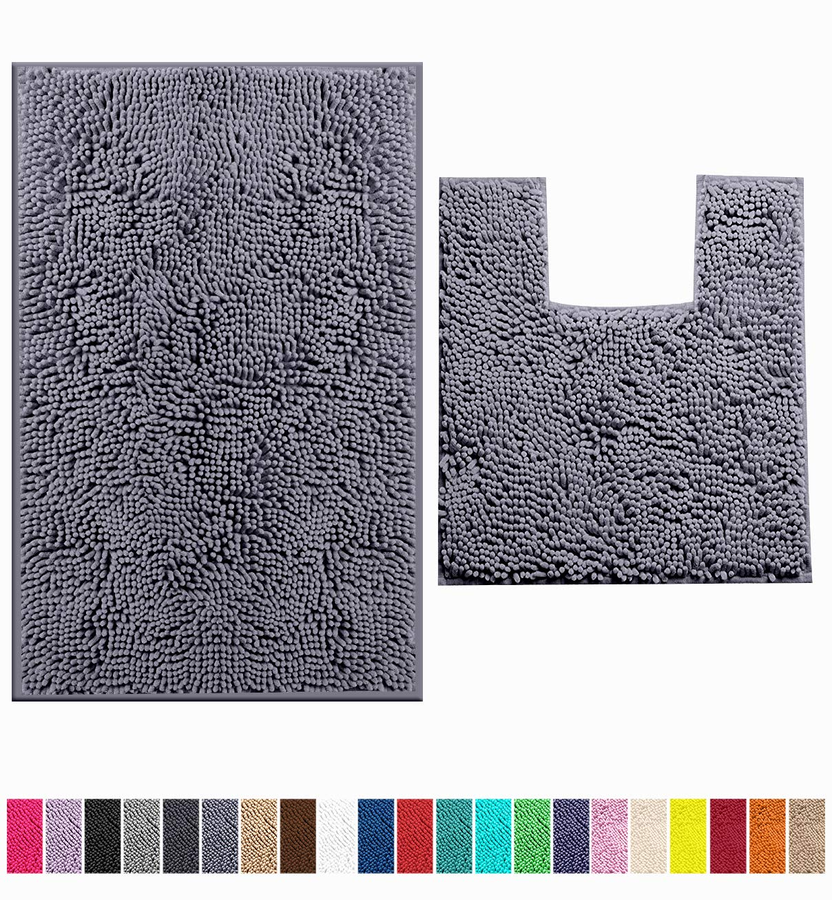 LuxUrux Bathroom Rugs Luxury Chenille 2-Piece Bath Mat Set, Soft Plush Anti-Slip Bath Rug +Toilet Mat.1'' Microfiber Shaggy Carpet, Super Absorbent Machine Washable Mats (Curved Set Medium, Dark Gray)