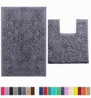 LuxUrux Bathroom Rugs Luxury Chenille 2-Piece Bath Mat Set, Soft Plush Anti-Slip Bath Rug +Toilet Mat.1'' Microfiber Shaggy Carpet, Super Absorbent Machine Washable Mats (Curved Set Medium, Dark Gray)