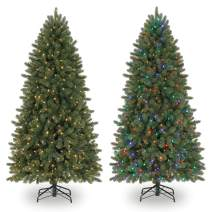 Evergreen Classics 6.5 Feet Pre-Lit Vermont Spruce Artificial Christmas Tree, Remote-Controlled Color-Changing LED lights