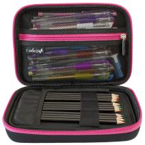 ColorIt Large Pencil Box Case Storage for Colored Pencils, Gel Pens, Markers, Brushes, Craft Supplies - [New Black Label] Semi-Hard EVA Carrying Pouch Case Only (Pink)