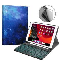 "Fintie Keyboard Case for New iPad 7th Gen 10.2 Inch 2019, Soft TPU Back Cover with Pencil Holder, Magnetically Detachable Wireless Bluetooth Keyboard, 7 Color Backlight for iPad 10.2"", Starry Sky"