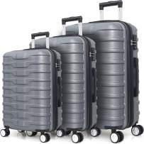 Expandable Hardside 3 Piece Luggage Set with Spinner Wheels and TSA Lock (Silver)