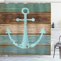 """Ambesonne Anchor Shower Curtain, Timeworn Marine on Weathered Wooden Planks Rustic Nautical Theme, Cloth Fabric Bathroom Decor Set with Hooks, 70"""" Long, Teal Brown"""