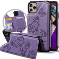 Vodico iPhone 11 Pro Max Wallet Case with Card Holder for Women/Girl, Slim Cute Girly Embossed Butterfly Leather Thin Folio Flip Magnetic Clasp Purse Phone Cover with Credit Card Slot&Stand (Purple)