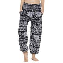 Kiara Women's Cotton Hippie Clothing Comfy Bohemian Tapered Elephant Harem Loose Yoga Travel Pajama Lounge Pants with Pockets