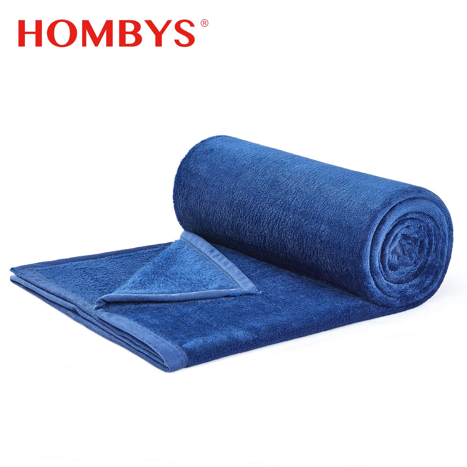 """HOMBYS Flannel Fleece Blanket Lightweight All Season Soft Cozy Couch Bed Fuzzy Blankets (Navy, Throw(50""""x60""""))"""