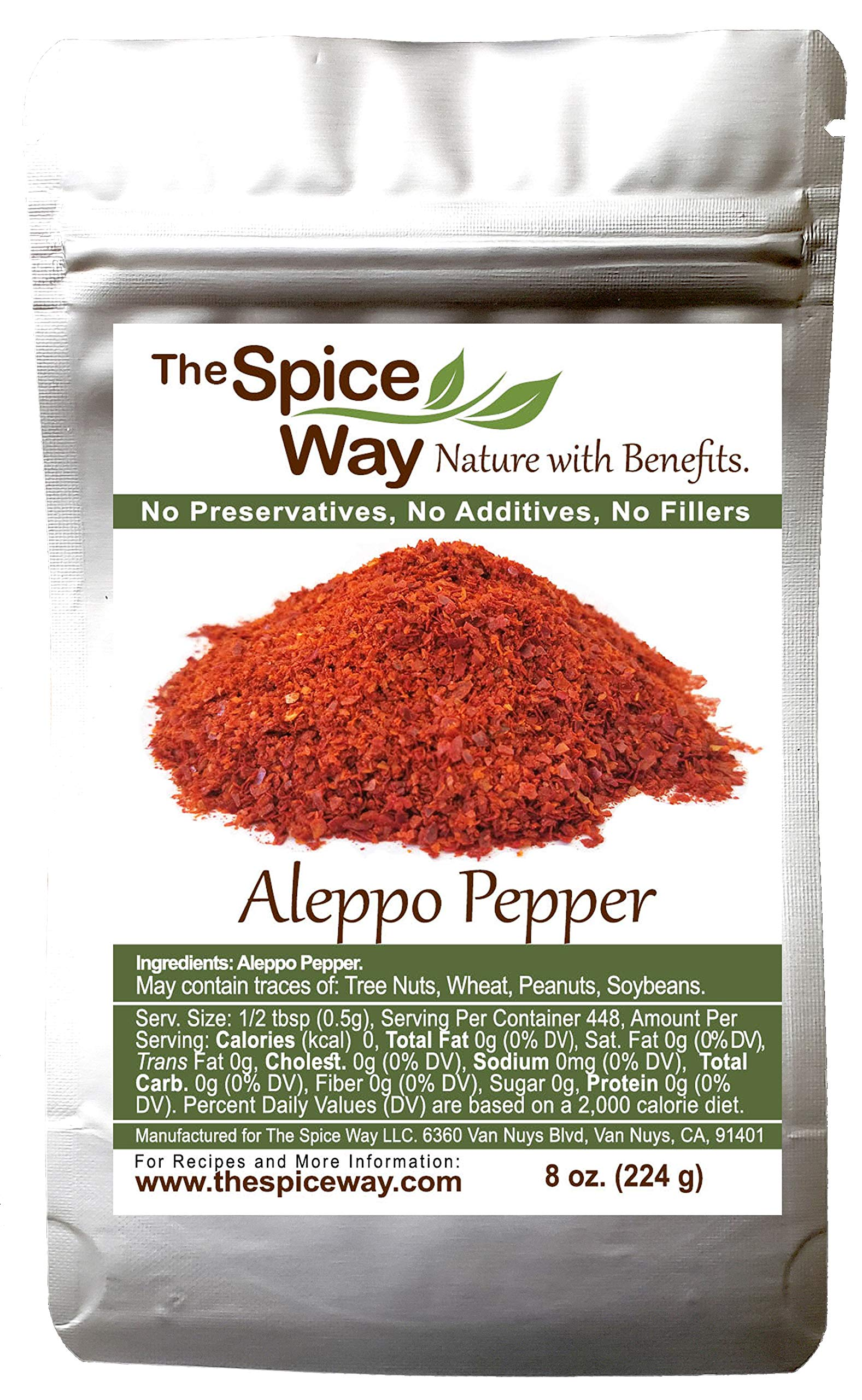 The Spice Way - Premium Aleppo Pepper ( 8 oz.) Crushed Aleppo Pepper Flakes (Halaby Pepper/Pul Biber/Marash Pepper/Aleppo Chili Flakes) Popular in Turkish and Middle Eastern/Mediterranean cooking