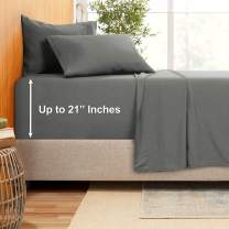 "Extra Deep Pocket Sheets - Bamboo Blend 4-Piece 21"" Bed Sheet Set – Bamboo and Microfiber Blend – Extra Deep Bed Sheet – Ultra Deep Sheets for Deep Pockets Mattress - Twin XL - Charcoal Gray"