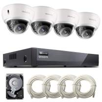 ONWOTE [Audio] 8CH 5MP PoE Home Security Camera System, Vandal-Proof Dome, 8CH 5MP H.265 NVR 2TB HDD for 24/7 Recording, (4) Wired Outdoor 5MP Ethernet IP Surveillance Cameras, 100ft IR, Wide Angle
