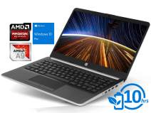 "HP 14 Laptop, 14"" HD Display, AMD A9-9425 Upto 3.7GHz, 8GB RAM, 128GB NVMe SSD, HDMI, Card Reader, Wi-Fi, Bluetooth, Windows 10 Pro S"