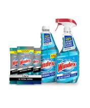 Windex Bundle - Original Blue Glass and Window Cleaner 23 fl oz spray + 32 oz refill, and Electronic Screen Wipes for Computers , Phones, Televisions and More, 25 count - Pack of 3