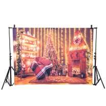 7X5ft Christmas Fireplace Backdrop Xmas Tree Stockings Photography Backdrop Customized Portrait Photo Background Studio Props