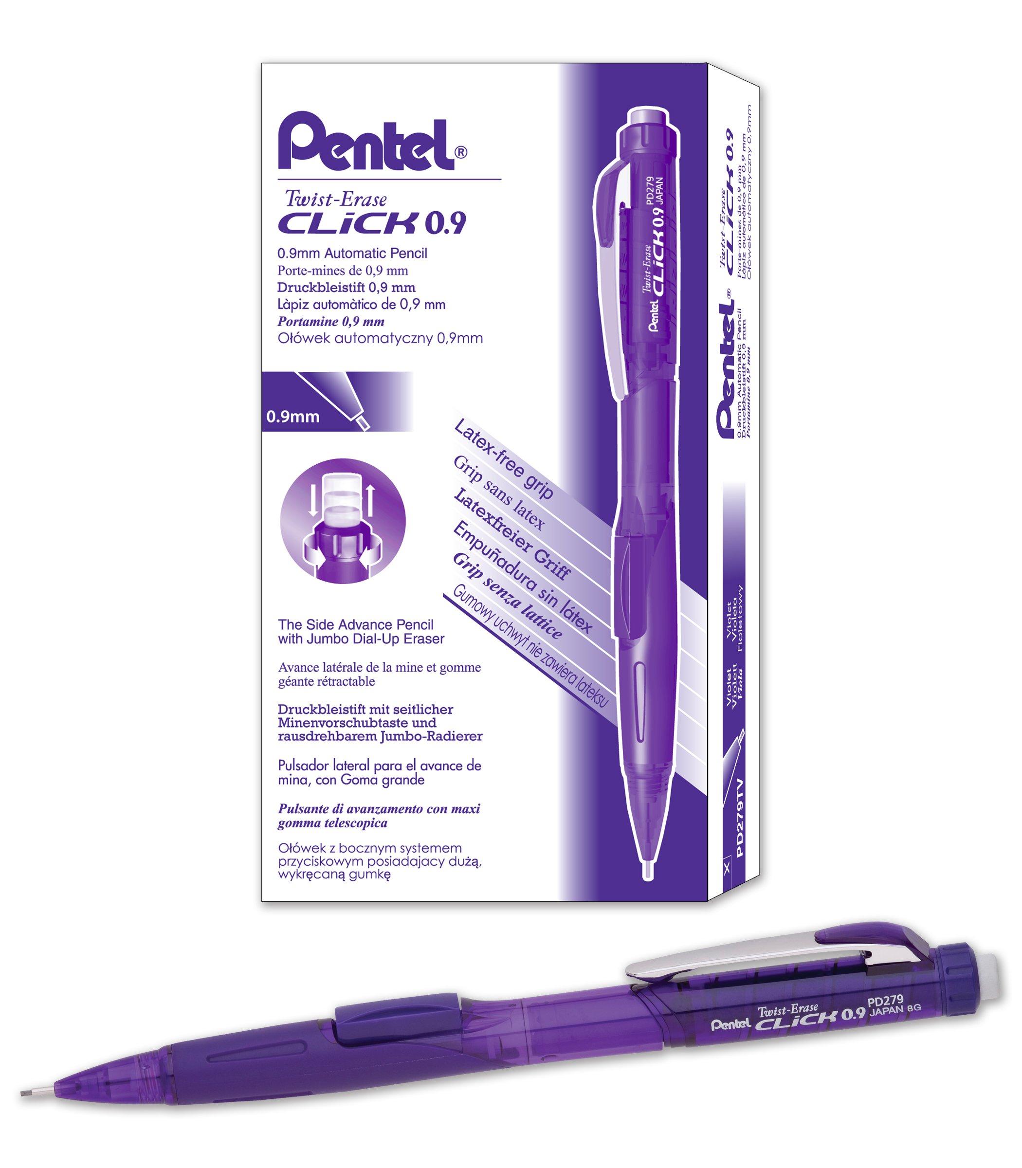 Pentel Twist-Erase CLICK Mechanical Pencil (0.9mm) Assorted Violet Barrel Colors, Color May Vary,  Box of 12 (PD279TV)