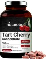 NatureBell Organic Tart Cherry Concentrate 4200mg Herbal Equivalent, 200 Capsules, Natural Flavonoids and Antioxidants, No GMOs, Made with Organic Tart Cherries