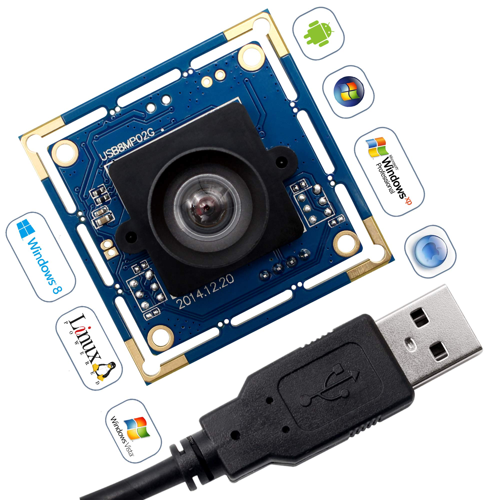 8 Magepixel USB Camera Module with Sony IMX179 Sensor Webcam Super HD 3264X2448 Embeded USB Camera for Industrial,USB with Camera for Linux Windows Android Mini Web Cams Plug&Play OTG Supported Webcam