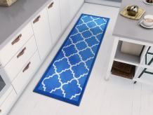 "Well Woven Kings Court Brooklyn Trellis Modern Blue Geometric Lattice 1'8"" x 5' Accent Indoor/Outdoor Runner Rug"