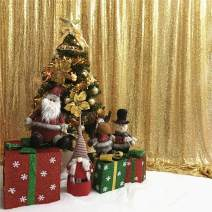 TRLYC 6Ftx6Ft Sparkly Gold Shimmer Photography Backdrop Sequin Wedding Curtain