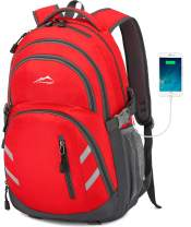 MOGGEI Backpack Bookbag for School College Student Business Travel with USB Charging Port Fit Laptop Up to 15.6 Inch Luggage Chest Straps Night Light Reflective (Red)