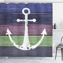 """Ambesonne Anchor Shower Curtain, Nautical Style Marine Art on Weathered Rustic Wooden Planks in Abstract Tones, Cloth Fabric Bathroom Decor Set with Hooks, 75"""" Long, Green Eggplant"""