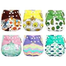 Zooawa Baby Pocket Cloth Diaper, [6 Pack] Washable Reusable One Size Adjustable Training Cloth Diaper Pants Cover for Newborn Baby Girls and Boys, Floral Print