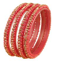 Touchstone New Traditional Indian Bollywood Carrot Red Bead Yellow Crystals Designer Thick Bangle Bracelets. Set of 4. for Women.