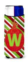 Caroline's Treasures CJ1039-WMUK Christmas Oranment Holiday Monogram Initial Letter W Ultra Beverage Insulators for slim cans, Slim Can, multicolor