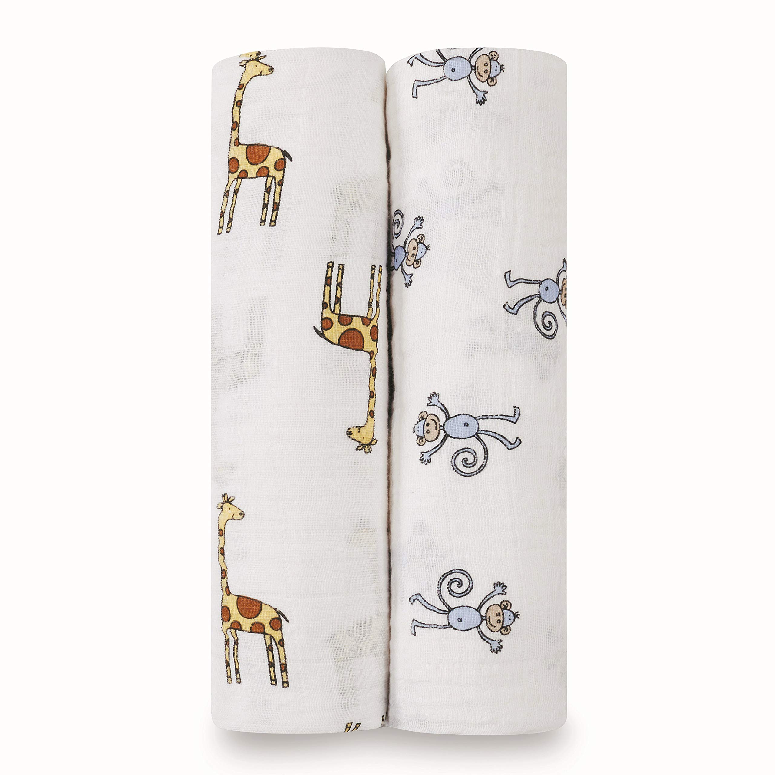 aden + anais Swaddle Blanket   Boutique Muslin Blankets for Girls & Boys   Baby Receiving Swaddles   Ideal Newborn & Infant Swaddling Set   Perfect Shower Gifts, 2 Pack, Jungle Jam