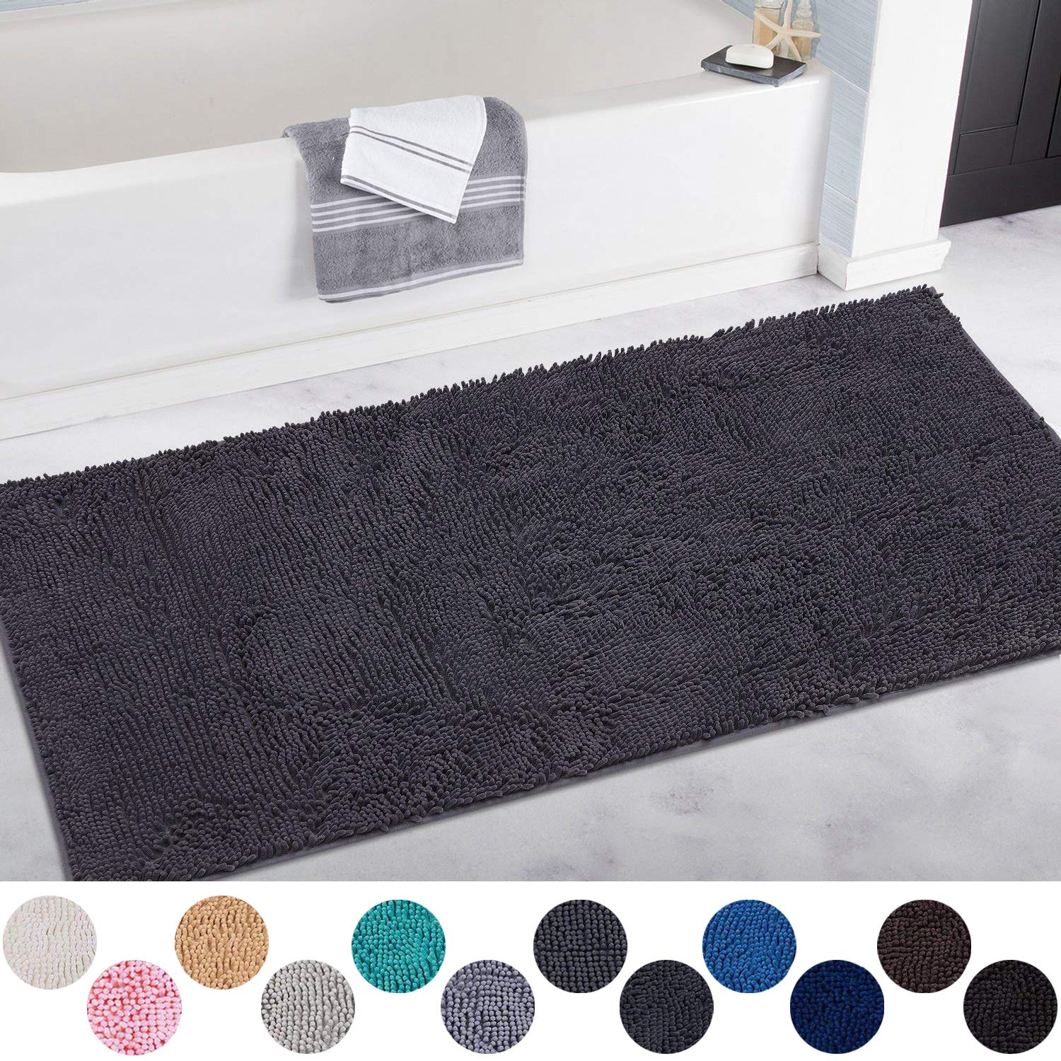 DEARTOWN Non-Slip Shaggy Bathroom Rug,Soft Microfibers Chenille Bath Mat with Water Absorbent, Machine Washable(Black,31x59 Inches)