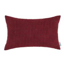 CaliTime Cozy Bolster Pillow Cover Case for Couch Sofa Bed Comfortable Supersoft Corduroy Corn Striped Both Sides 12 X 20 Inches Burgundy