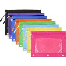 BBTO Pencil Pouch 3 Ring Binder Pencil Bags with Zipper Pulls for Office Supplies, 8 Colors (8 Pieces)