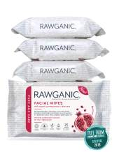Rawganic Anti-aging Hydrating Facial wipes, Fragrance-free Biodegradable Organic Cotton Wipes with Pomegranate and Aloe Vera (set of 4)