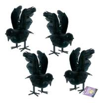 Halloween Haunters Realistic Feathered Black Crows Prop Decoration (Set of 4) - Scary Standing Flying Birds, Blackbirds, Ravens with Feather Wings - Tree, Haunted House, Graveyard, Tombstone Display