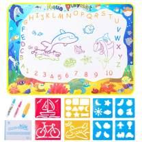 VENSEEN Aqua Magic Doodle Mat for Kids, Mess-Free Water Drawing Mat, Best Educational Aqua Doodle Mat for Girls & Boys Ages 3-12, Size 34.6''X 22.8''